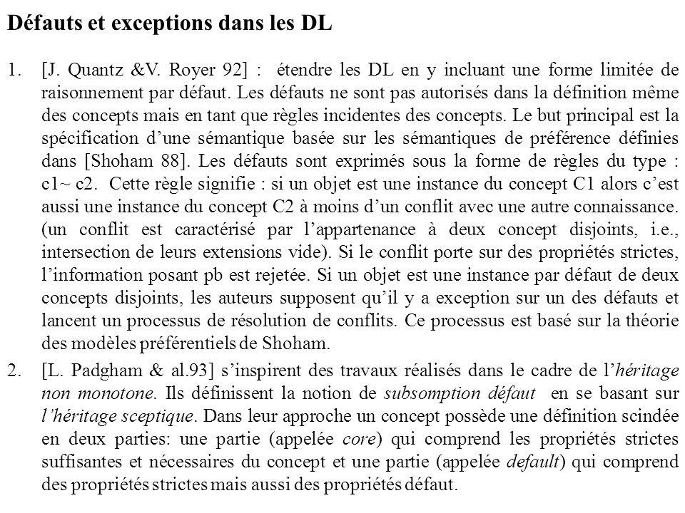 Défauts et exceptions dans les DL