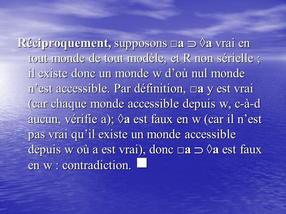 Réciproquement, supposons □a  ◊a vrai en tout monde de tout modèle, et R non sérielle ; il existe donc un monde w d'où nul monde n'est accessible.