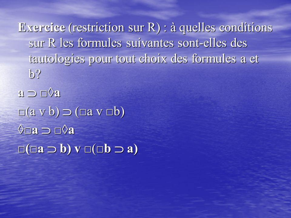 Exercice (restriction sur R) : à quelles conditions sur R les formules suivantes sont-elles des tautologies pour tout choix des formules a et b