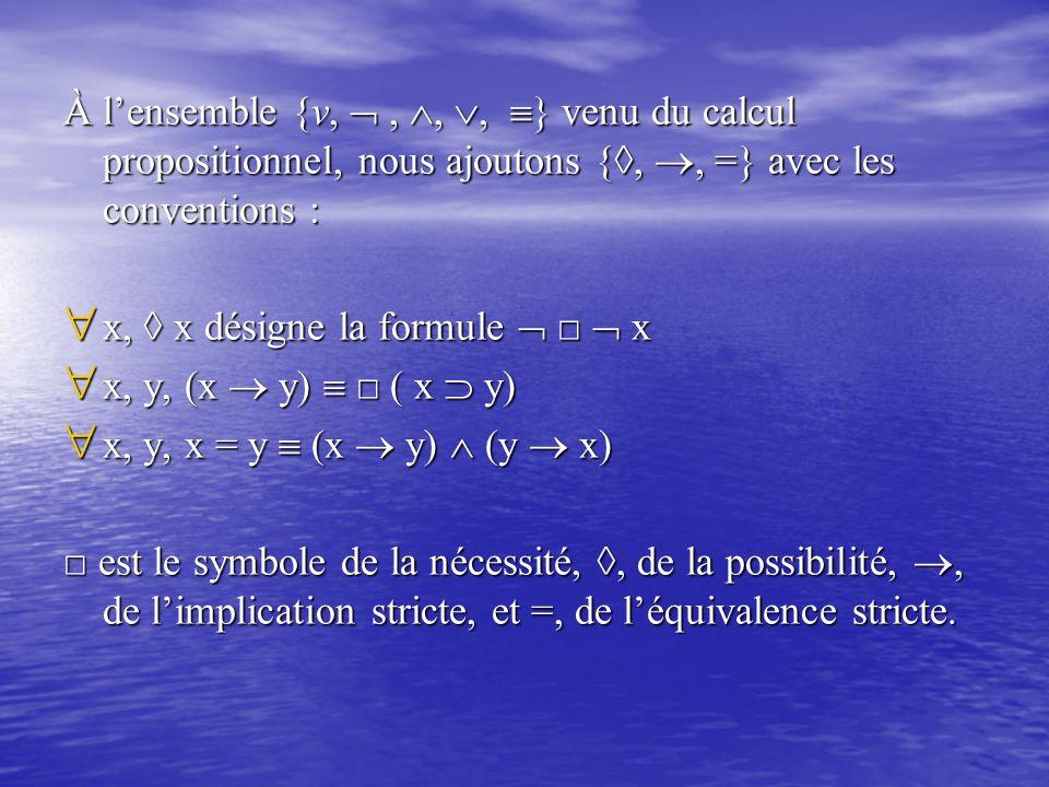 À l'ensemble {v,  , , , } venu du calcul propositionnel, nous ajoutons {◊, , =} avec les conventions :