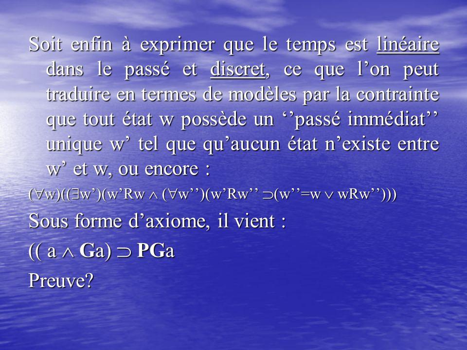 Sous forme d'axiome, il vient : (( a  Ga)  PGa Preuve