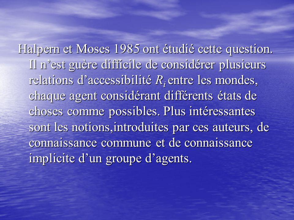 Halpern et Moses 1985 ont étudié cette question