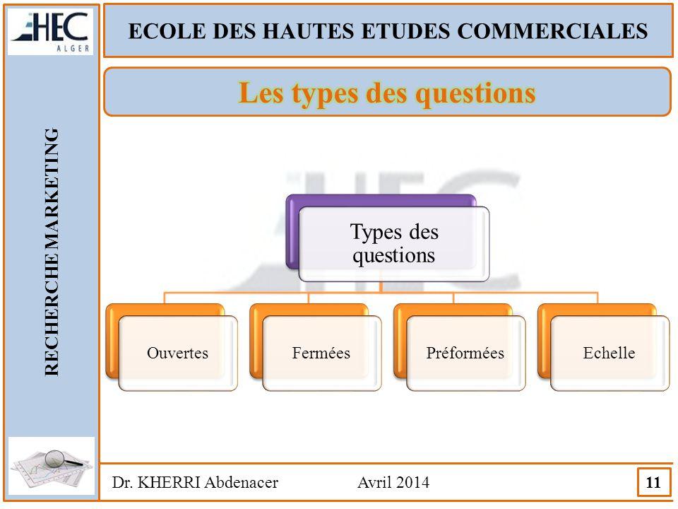 ECOLE DES HAUTES ETUDES COMMERCIALES Les types des questions
