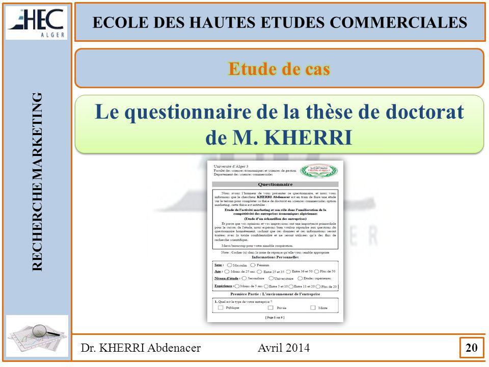 Le questionnaire de la thèse de doctorat de M. KHERRI