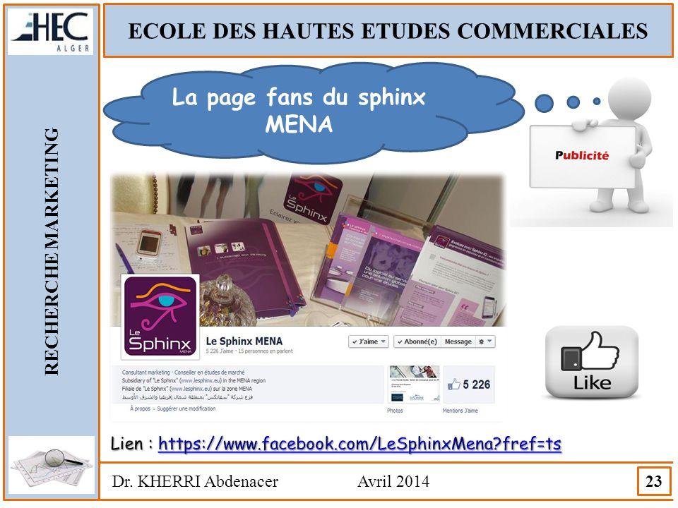 ECOLE DES HAUTES ETUDES COMMERCIALES La page fans du sphinx MENA