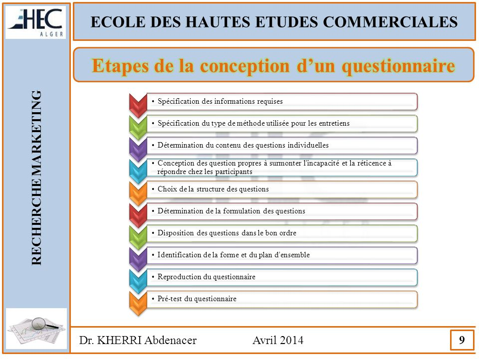 Etapes de la conception d'un questionnaire