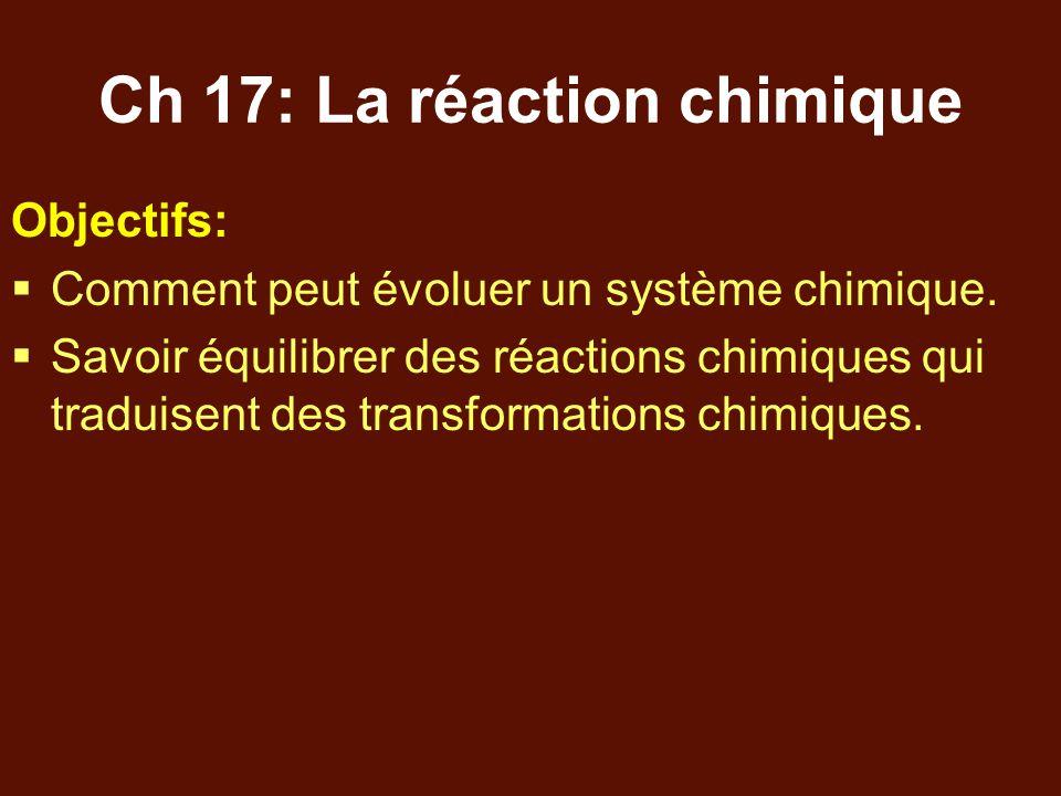 Ch 17: La réaction chimique