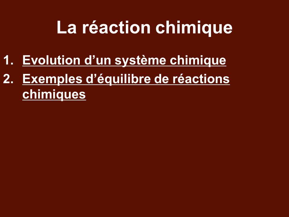 La réaction chimique Evolution d'un système chimique