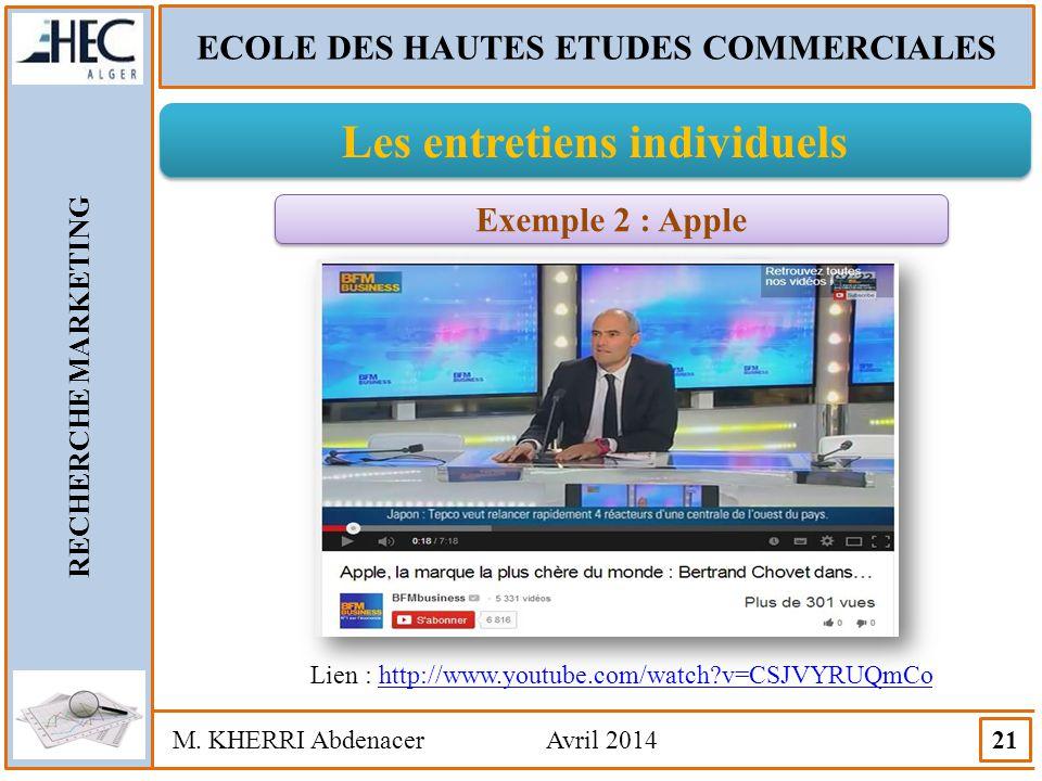 ECOLE DES HAUTES ETUDES COMMERCIALES Les entretiens individuels