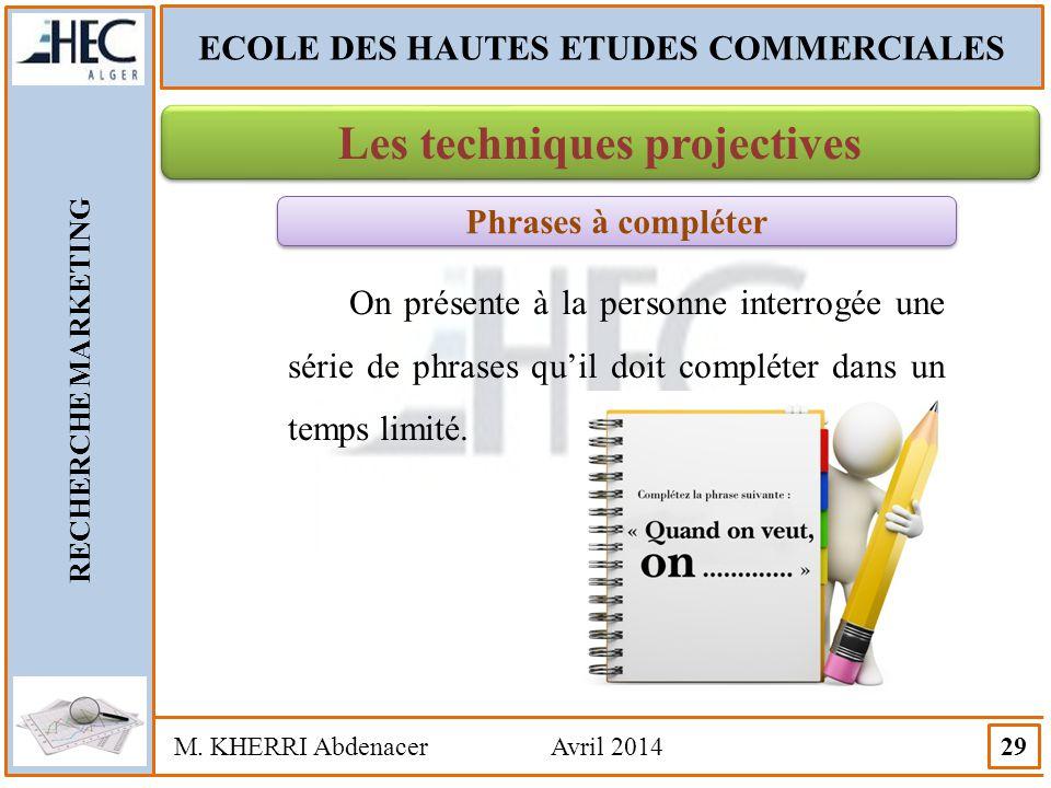 ECOLE DES HAUTES ETUDES COMMERCIALES Les techniques projectives