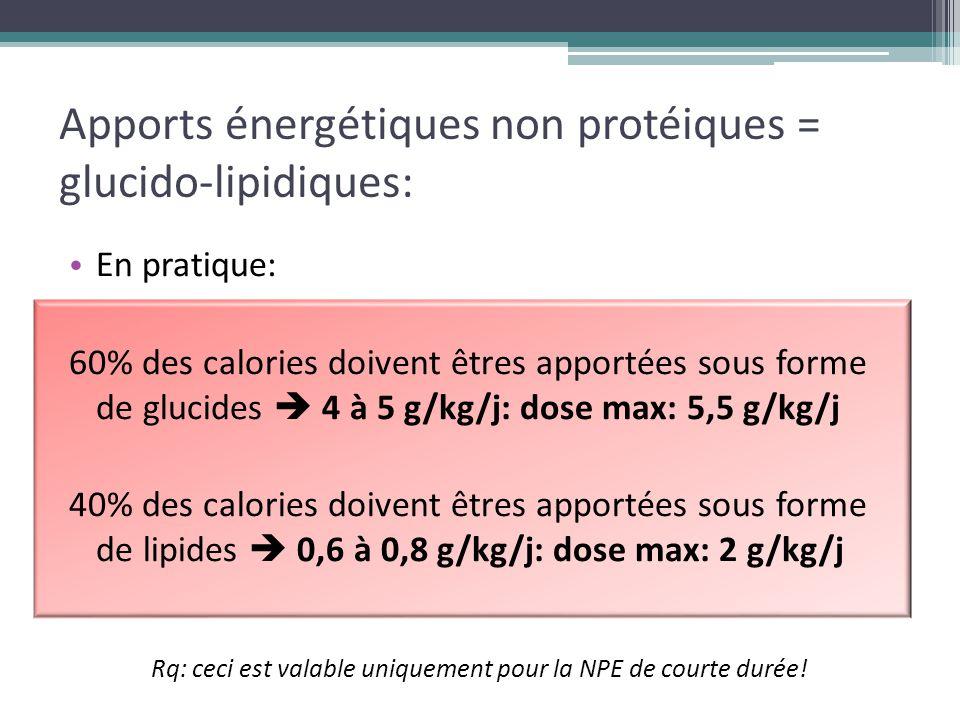 Apports énergétiques non protéiques = glucido-lipidiques: