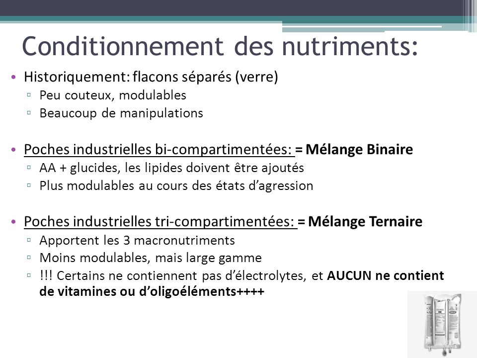 Conditionnement des nutriments: