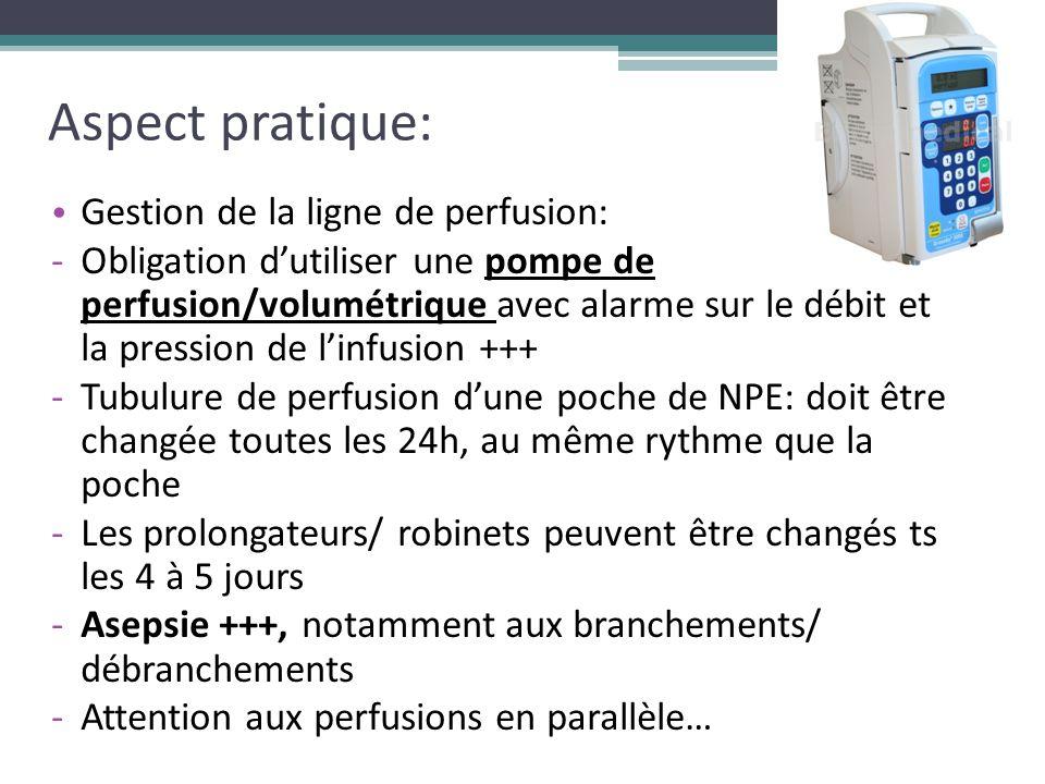 Aspect pratique: Gestion de la ligne de perfusion: