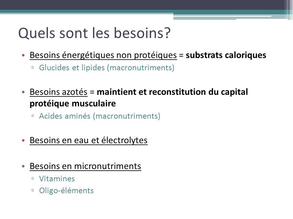 Quels sont les besoins Besoins énergétiques non protéiques = substrats caloriques. Glucides et lipides (macronutriments)