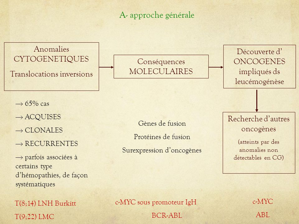 A- approche générale Anomalies CYTOGENETIQUES