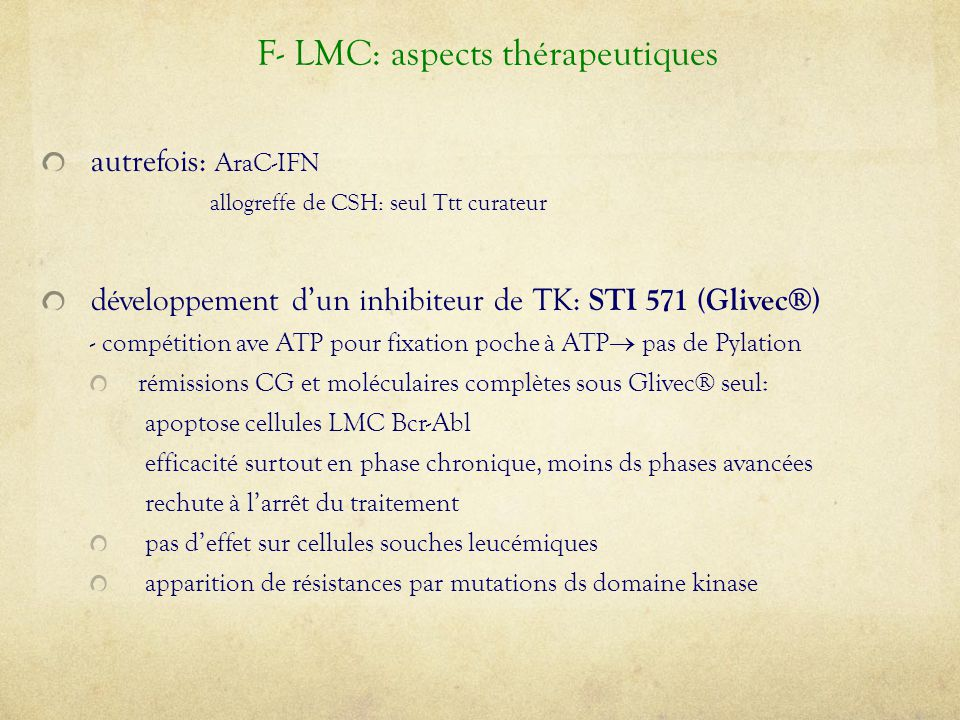 F- LMC: aspects thérapeutiques
