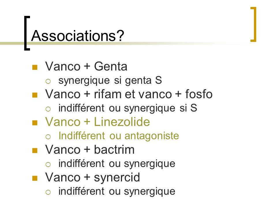 Associations Vanco + Genta Vanco + rifam et vanco + fosfo