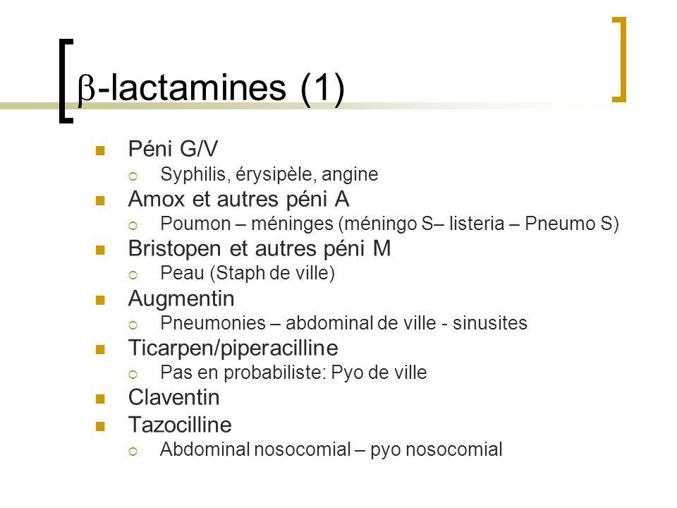 b-lactamines (1) Péni G/V Amox et autres péni A