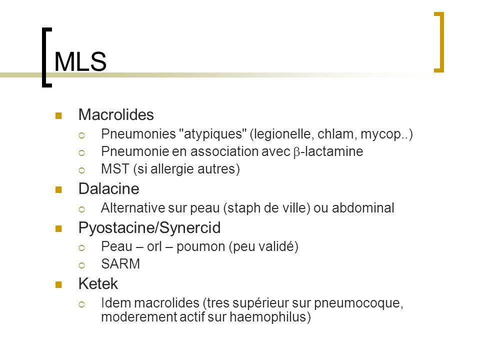 MLS Macrolides Dalacine Pyostacine/Synercid Ketek