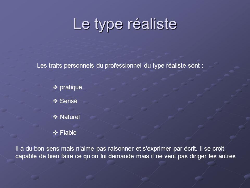 Le type réaliste Les traits personnels du professionnel du type réaliste sont : pratique. Sensé. Naturel.