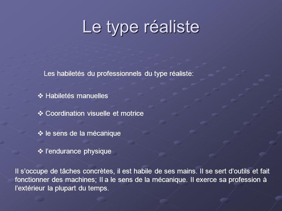 Le type réaliste Les habiletés du professionnels du type réaliste: