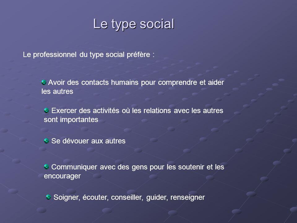 Le type social Le professionnel du type social préfère :