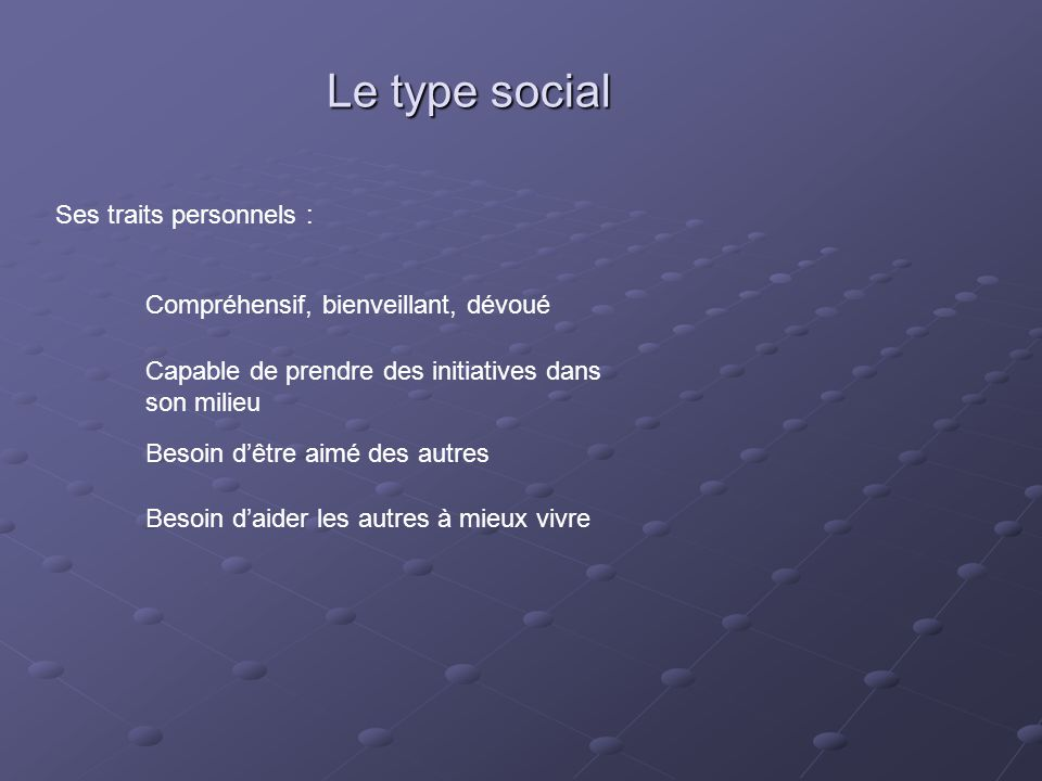 Le type social Ses traits personnels :