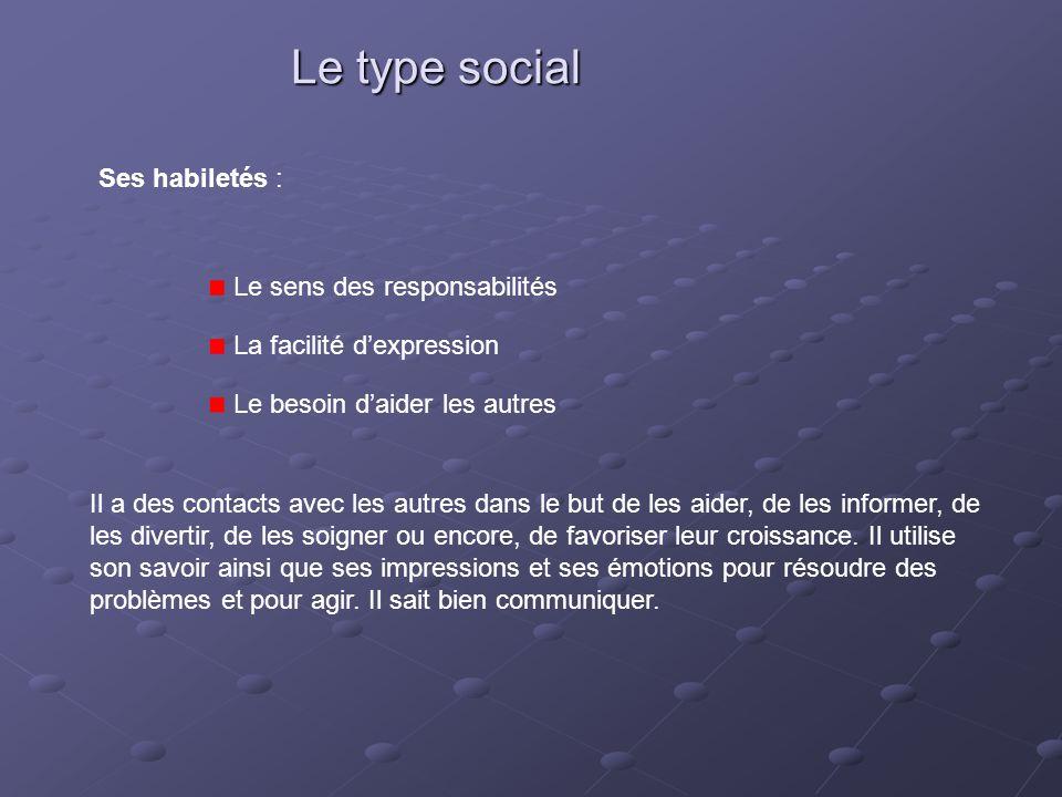 Le type social Ses habiletés : Le sens des responsabilités