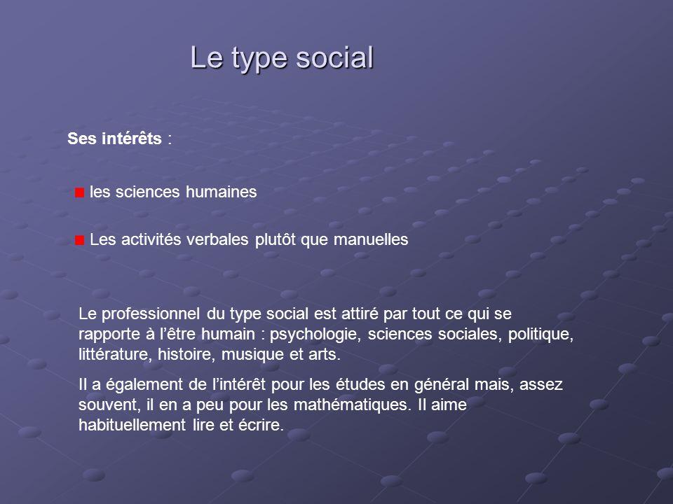 Le type social Ses intérêts : les sciences humaines