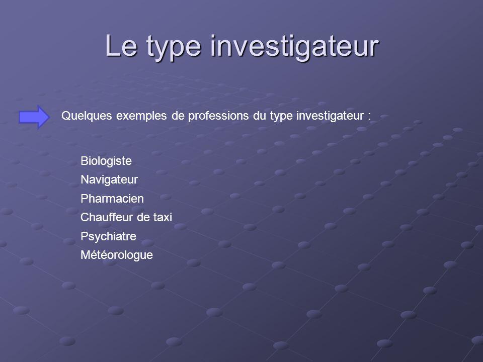 Le type investigateur Quelques exemples de professions du type investigateur : Biologiste. Navigateur.