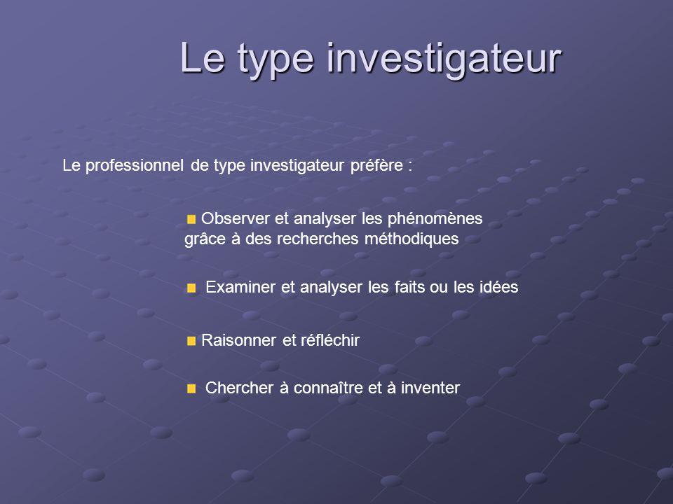 Le type investigateur Le professionnel de type investigateur préfère :