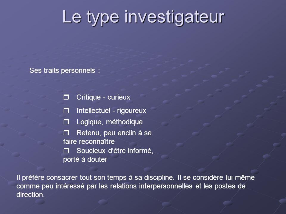 Le type investigateur Ses traits personnels : r Critique - curieux
