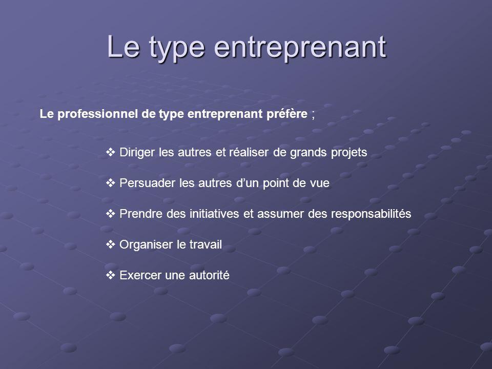 Le type entreprenant Le professionnel de type entreprenant préfère ;