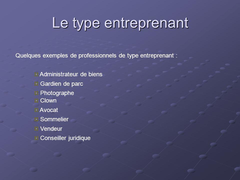 Le type entreprenant Quelques exemples de professionnels de type entreprenant : Administrateur de biens.