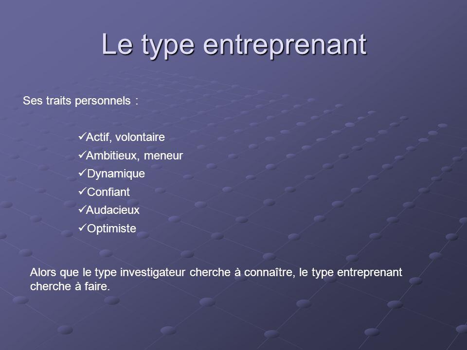 Le type entreprenant Ses traits personnels : Actif, volontaire