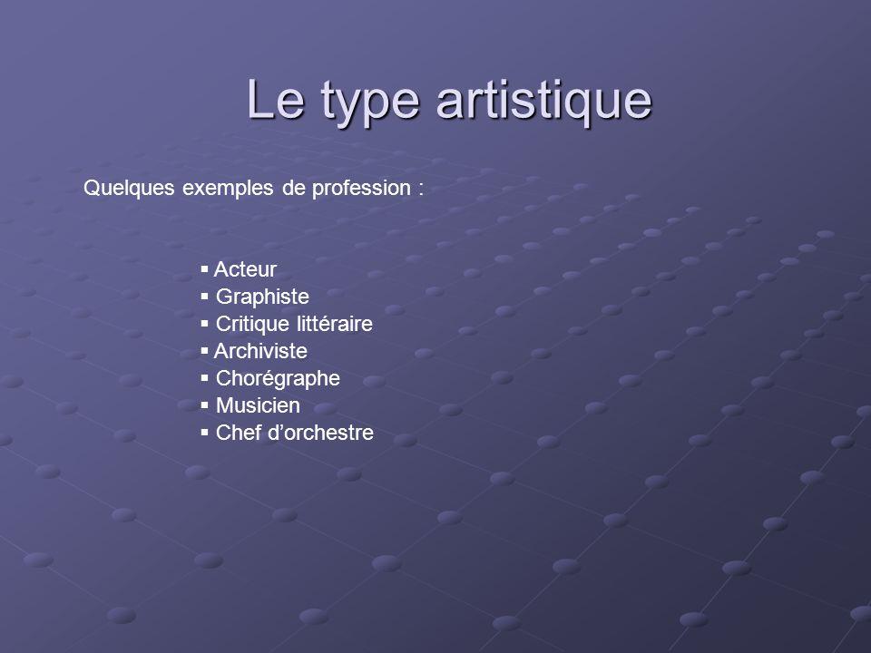 Le type artistique Quelques exemples de profession : Acteur Graphiste