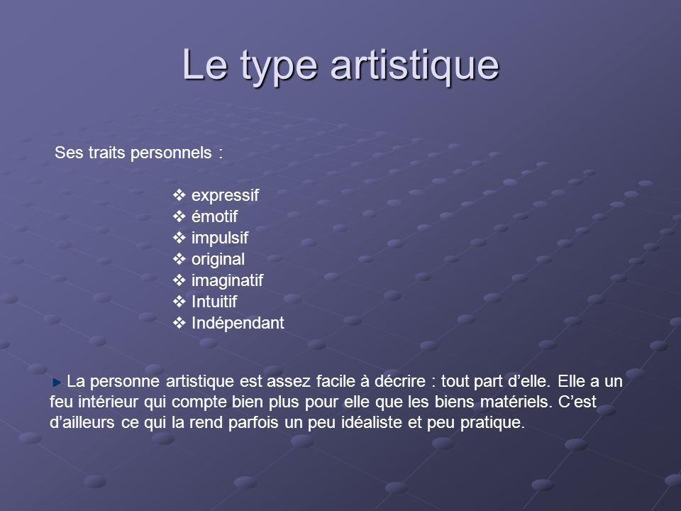 Le type artistique Ses traits personnels : expressif émotif impulsif