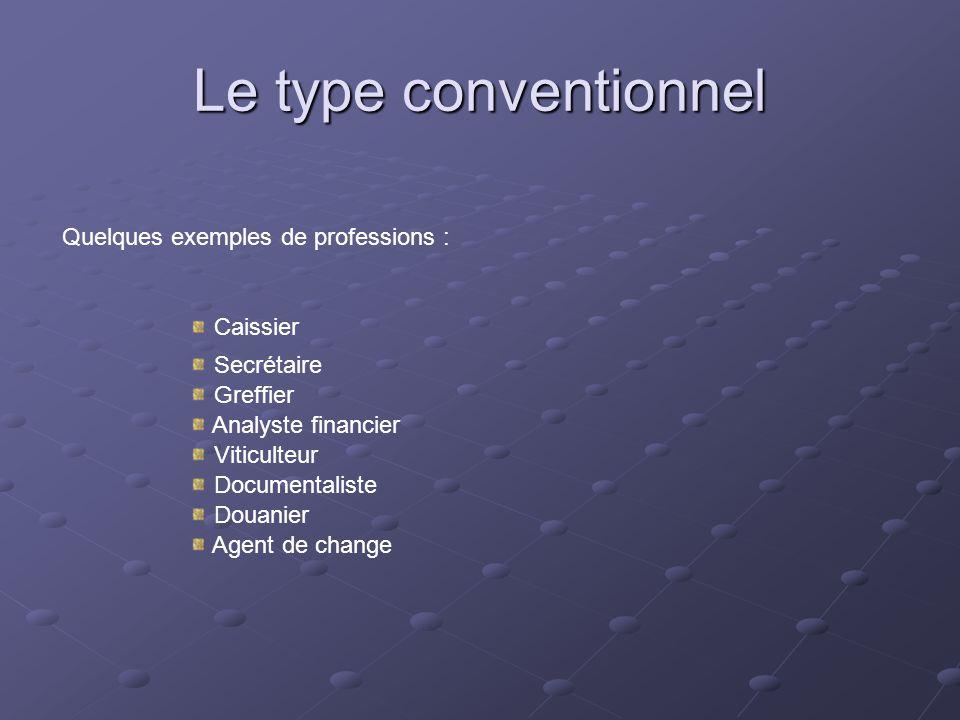 Le type conventionnel Quelques exemples de professions : Caissier