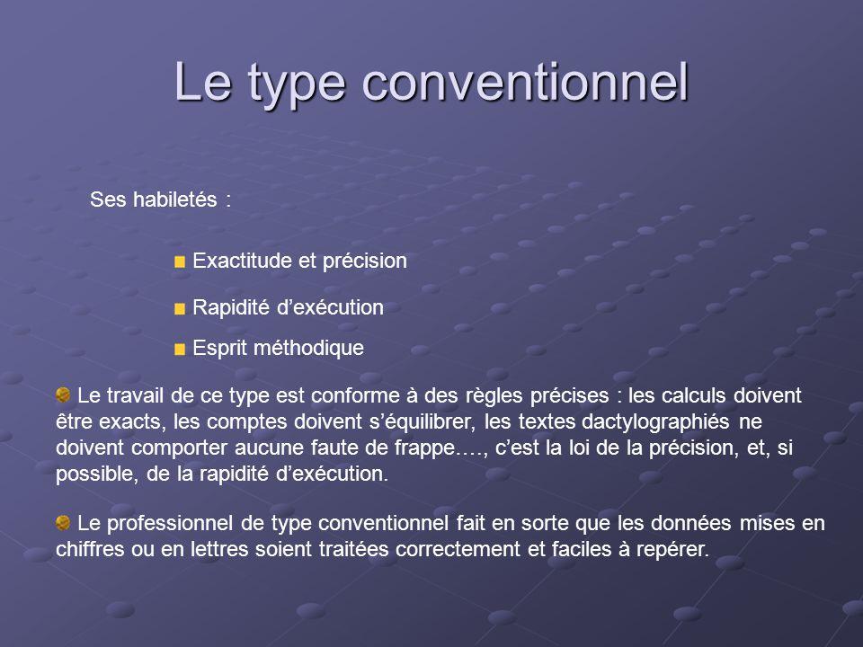 Le type conventionnel Ses habiletés : Exactitude et précision