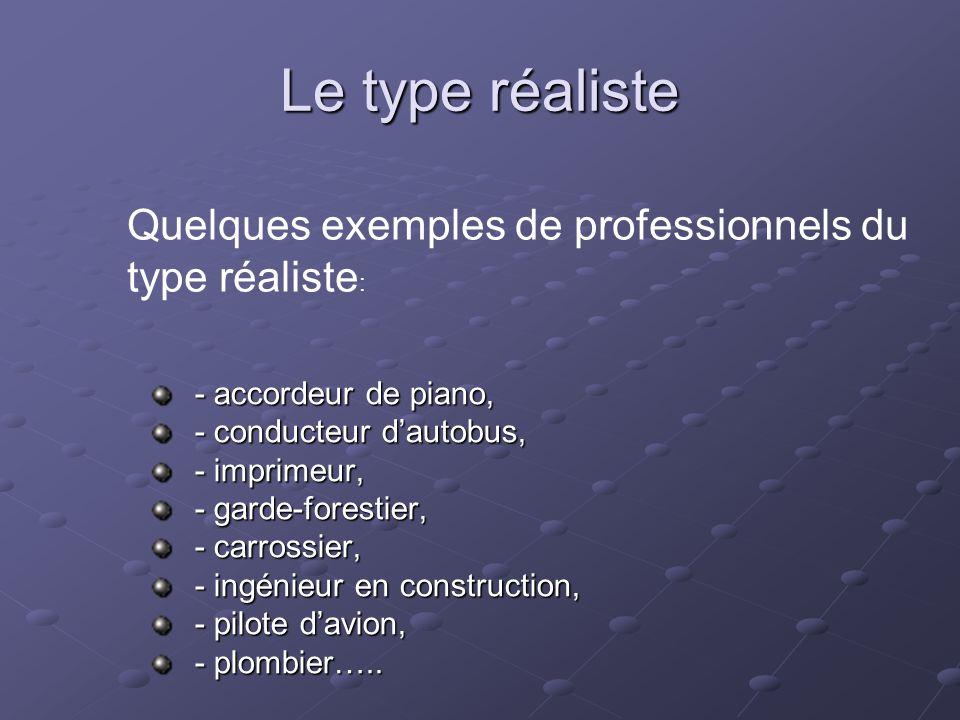 Le type réaliste Quelques exemples de professionnels du type réaliste:
