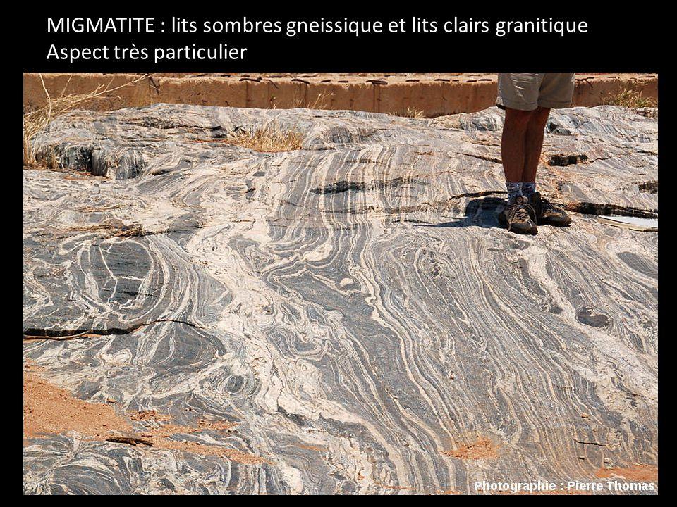 MIGMATITE : lits sombres gneissique et lits clairs granitique