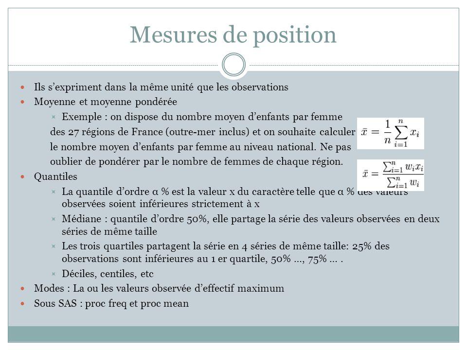 Mesures de position Ils s'expriment dans la même unité que les observations. Moyenne et moyenne pondérée.