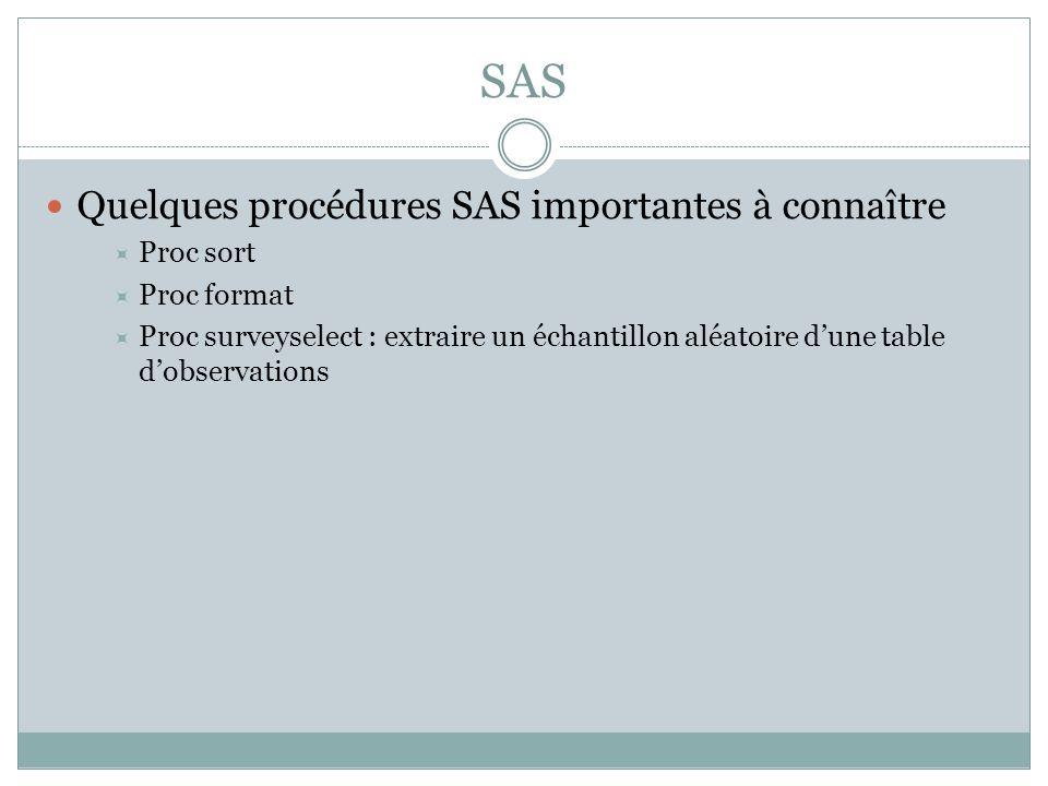 SAS Quelques procédures SAS importantes à connaître Proc sort