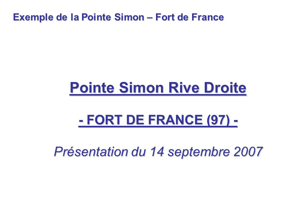 Exemple de la Pointe Simon – Fort de France
