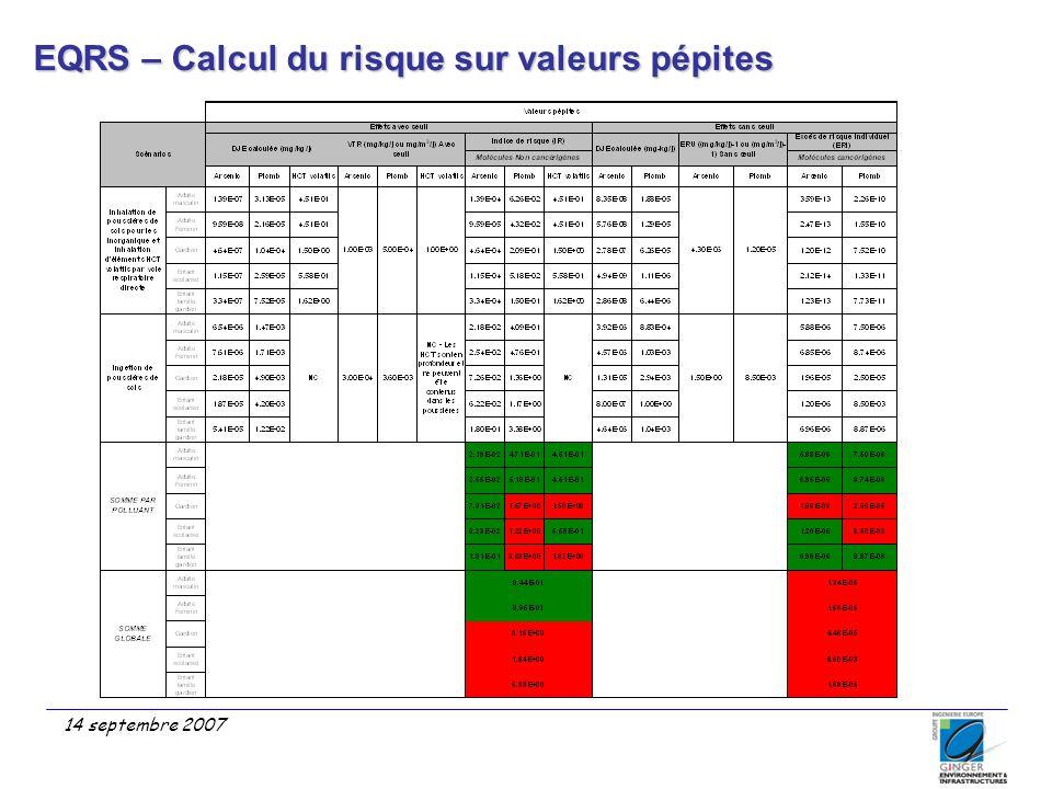EQRS – Calcul du risque sur valeurs pépites