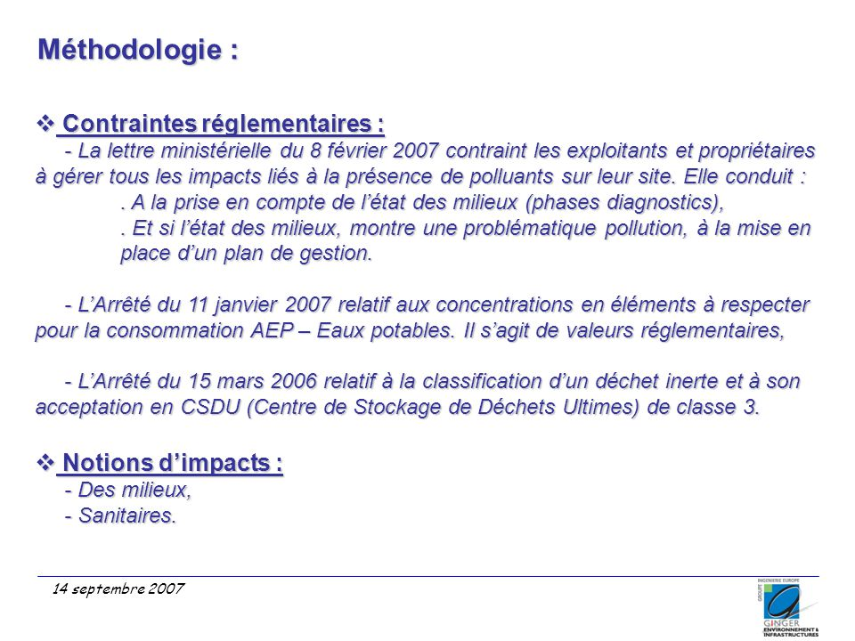 Méthodologie : Contraintes réglementaires : Notions d'impacts :