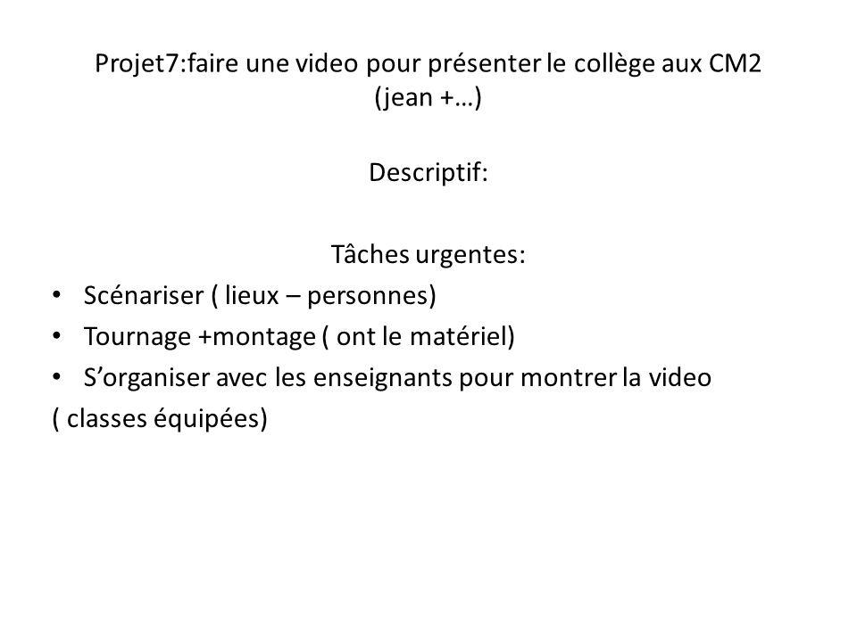 Projet7:faire une video pour présenter le collège aux CM2 (jean +…)