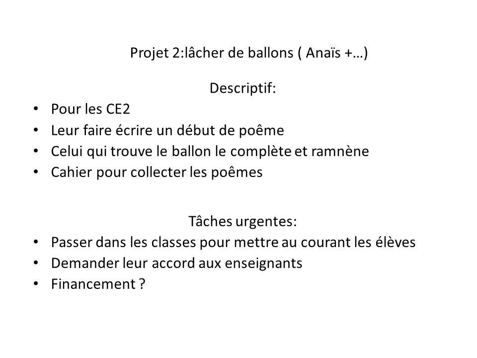 Projet 2:lâcher de ballons ( Anaïs +…)