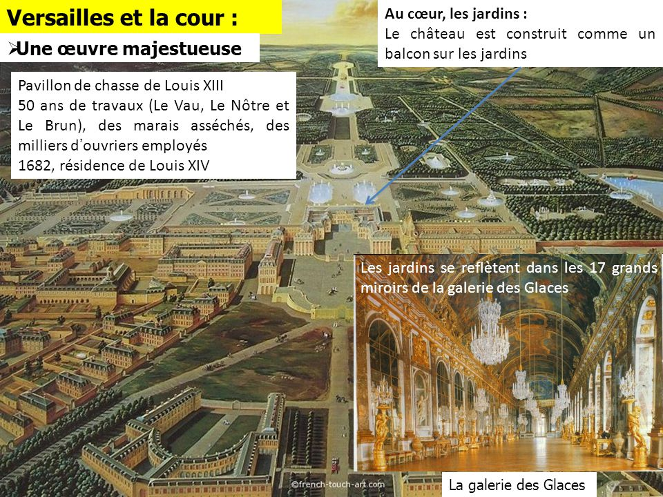 Versailles et la cour : Une œuvre majestueuse Au cœur, les jardins :
