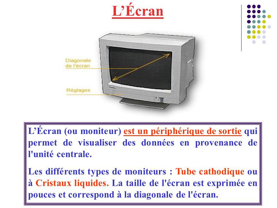 L'Écran L'Écran (ou moniteur) est un périphérique de sortie qui permet de visualiser des données en provenance de l unité centrale.